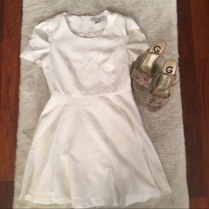 White Short Sleeve A-Line Mini Dress